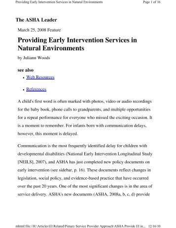 Providing Early Intervention Services in Natural Environments