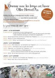 formule spéciale Nouvel An - Parc Animalier de Sainte-Croix