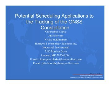 Potential Scheduling Applications to the Tracking of the GNSS - NASA