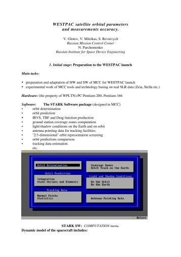 WESTPAC satellite orbital parameters and measurements accuracy.