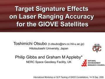 Target Signature Effects on Laser Ranging Accuracy for the GIOVE ...