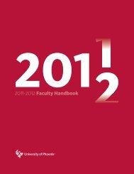 2011 2012 Faculty Handbook - University of Phoenix