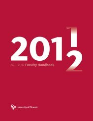 2011 2012 Faculty Handbook - University of Phoenix