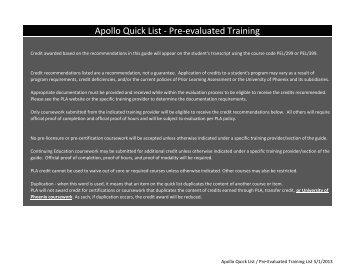 Apollo Quick List 2012.xlsx - University of Phoenix