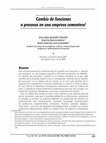 Cambio de funciones a procesos en una empresa cementera1