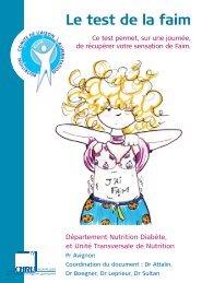 livret : le test de la faim - CHU Montpellier