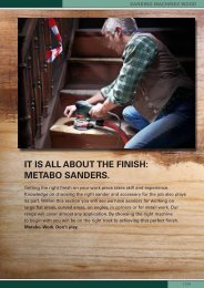it iS all about the finiSh: metabo SanderS.