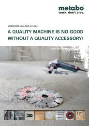A QUAL WITHO A QUALITY MACHINE IS NO GOOD ... - Metabo