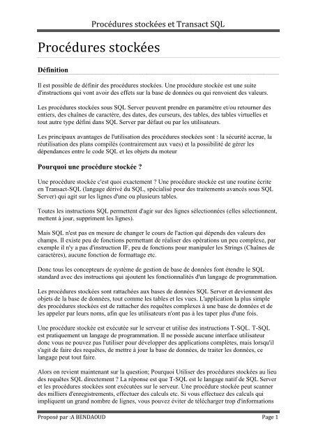 Procedures Stockees Et Transact Sql Cours Pour