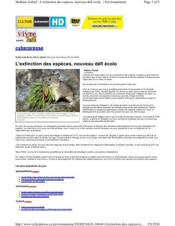 cyberpresse L'extinction des espèces, nouveau défi écolo