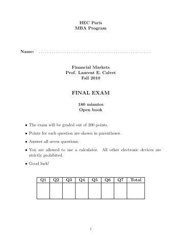 FINAL EXAM - Studies2 - HEC Paris
