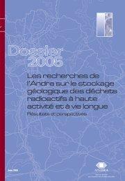 Les recherches de l'Andra sur le stockage géologique des déchets ...