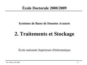 2. Traitements et Stockage - Hidouci - ESI