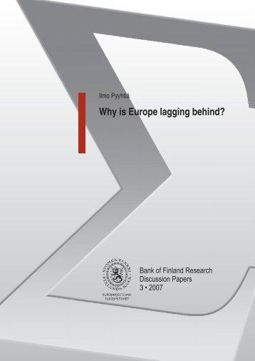 Why is Europe lagging behind? - Suomen Pankki