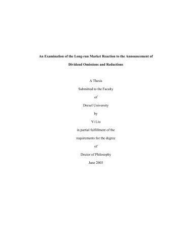 Examination of the Long-run Market Reaction - iDEA - Drexel ...