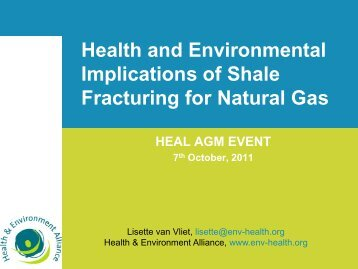 Fracking from an NGO perspective - Health and Environment Alliance