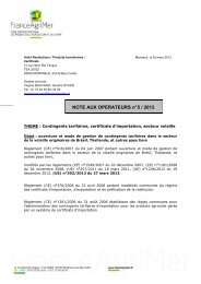 NOTE AUX OPERATEURS n° 5 / 2013 - FranceAgriMer