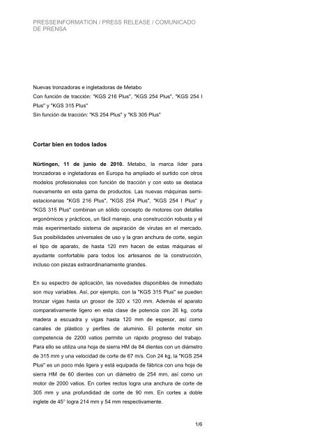 PRESSEINFORMATION / PRESS RELEASE ... - Metabo