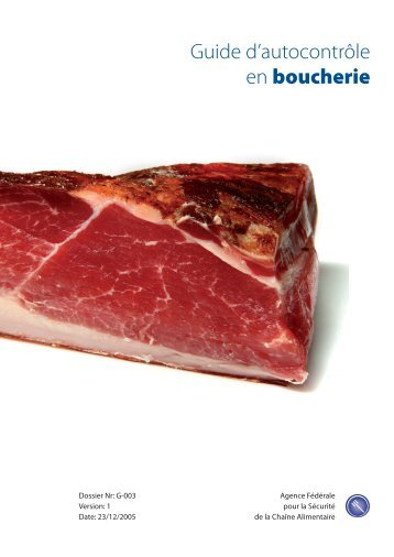 Guide d'autocontrôle en boucherie - Favv