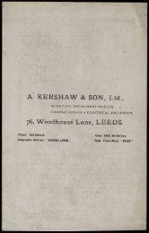 A. KERSHAW & SON, Ltd., 76, Woodhouse Lane, LEEDS.