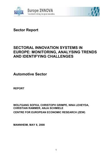Sector Report SECTORAL INNOVATION ... - Europe INNOVA