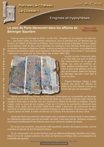Le plan de Paris découvert dans les affaires de Bérenger Saunière