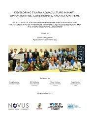 Developing Tilapia Aquaculture in Haiti - Novus International