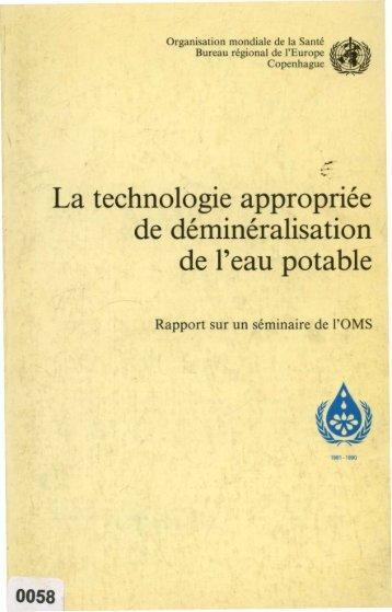 La technologie appropriée de déminéralisation de l'eau potable