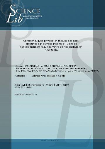 Caractéristiques physico-chimiques des eaux produites ... - Sciencelib