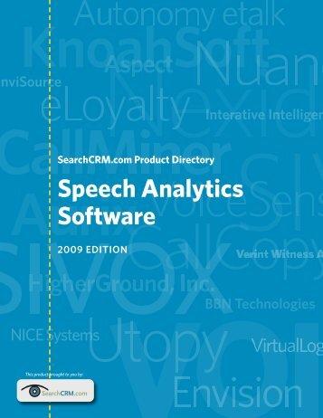 Speech Analytics Software Product Directory