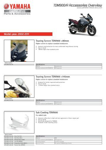 TDM900/A Accessories Overview - Yamaha Motor Europe