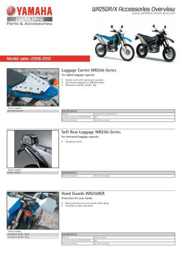 WR250R/X Accessories Overview - Yamaha Motor Europe