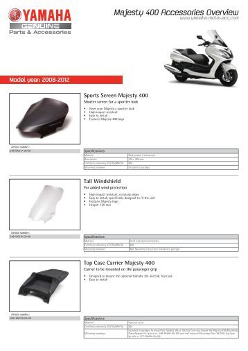 Majesty 400 Accessories Overview - Yamaha Motor Europe