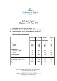 Half-Year Report 1 January to 30 June 2007 - Villeroy & Boch