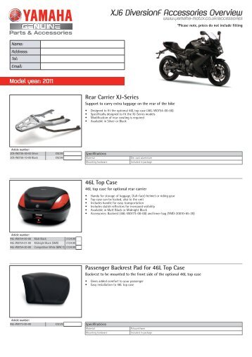 XJ6 DiversionF Accessories Overview - Yamaha Motor Europe
