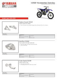 YZ250F Accessories Overview - Yamaha Motor Europe