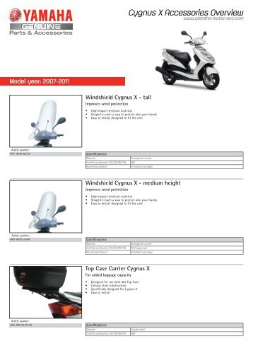 Cygnus X Accessories Overview - Yamaha Motor Europe
