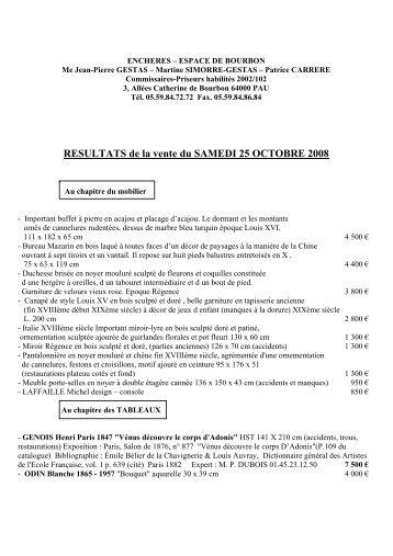 RESULTATS de la vente du SAMEDI 25 OCTOBRE 2008 - Gestas et ...
