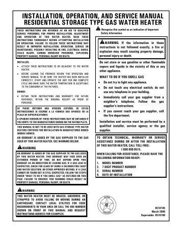 operators manual slim square 16l water heater national luna rh yumpu com Garage Door Installation Manual O-Ring Installation Guide