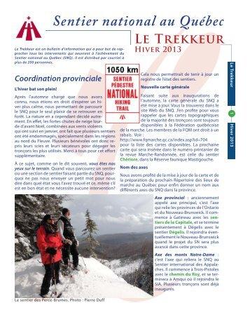 Le Trekkeur, hiver 2013 - Fédération québécoise de la marche
