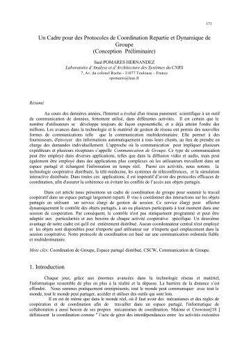 Un Cadre pour des Protocoles de Coordination Repartie et ...