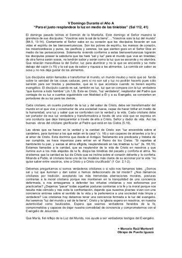 """V Domingo Durante el Año A """"Para el justo ... - Homiletica.org"""