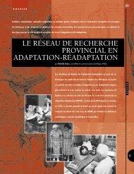 le réseau de recherche provincial en adaptation-réadaptation