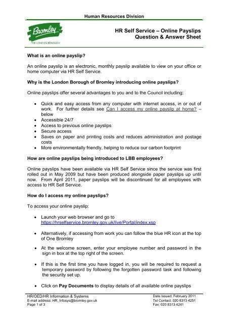 GPL 070411 Demonstration - Online Payslips FAQs
