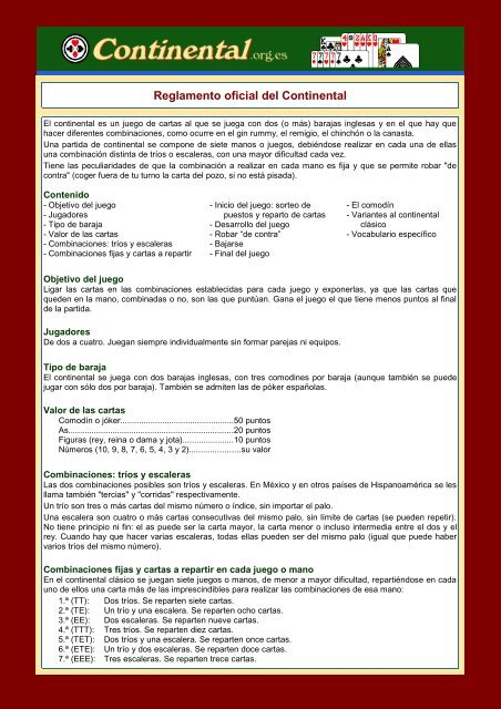 Reglamento Oficial Del Continental