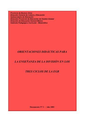 orientaciones didácticas para la enseñanza de la división en los tres ...