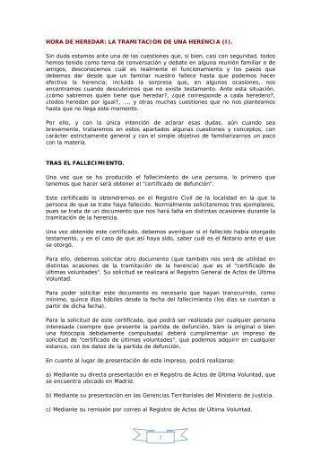 HORA DE HEREDAR: LA TRAMITACIÓN DE UNA HERENCIA (I ...