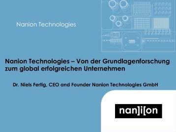 Dr. Niels Fertig (Nanion Technologies GmbH)