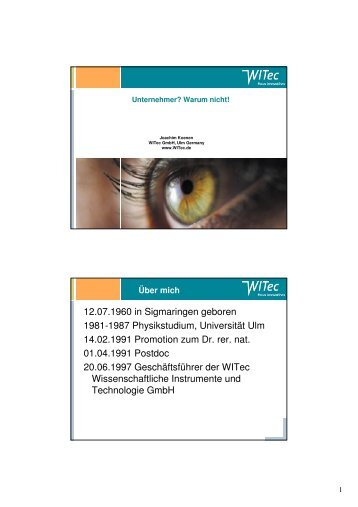 Dr. Joachim Koenen (WITec GmbH)
