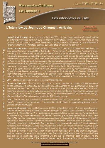 L'interview de Jean-Luc Chaumeil, écrivain. - Rennes-Le-Château